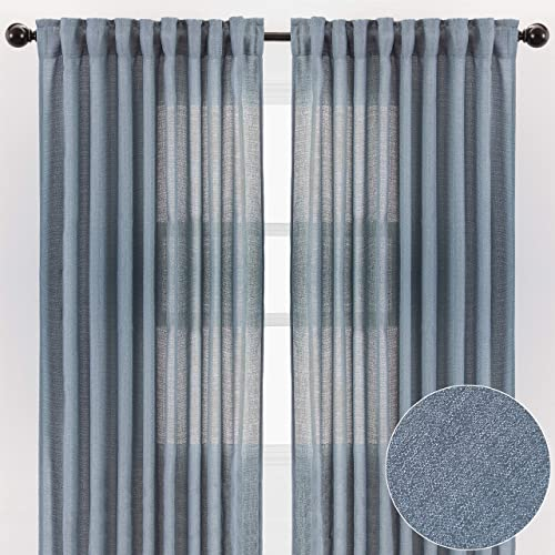 Chanasya 2-Panel Faux Belgian Flax Textured Semi Sheer Curtains – for Windows Living Room Bedroom Patio – Partial See Through Elegant Drapes for Privacy and Home Decor 52 x 108 Inches Long – Dark Blue