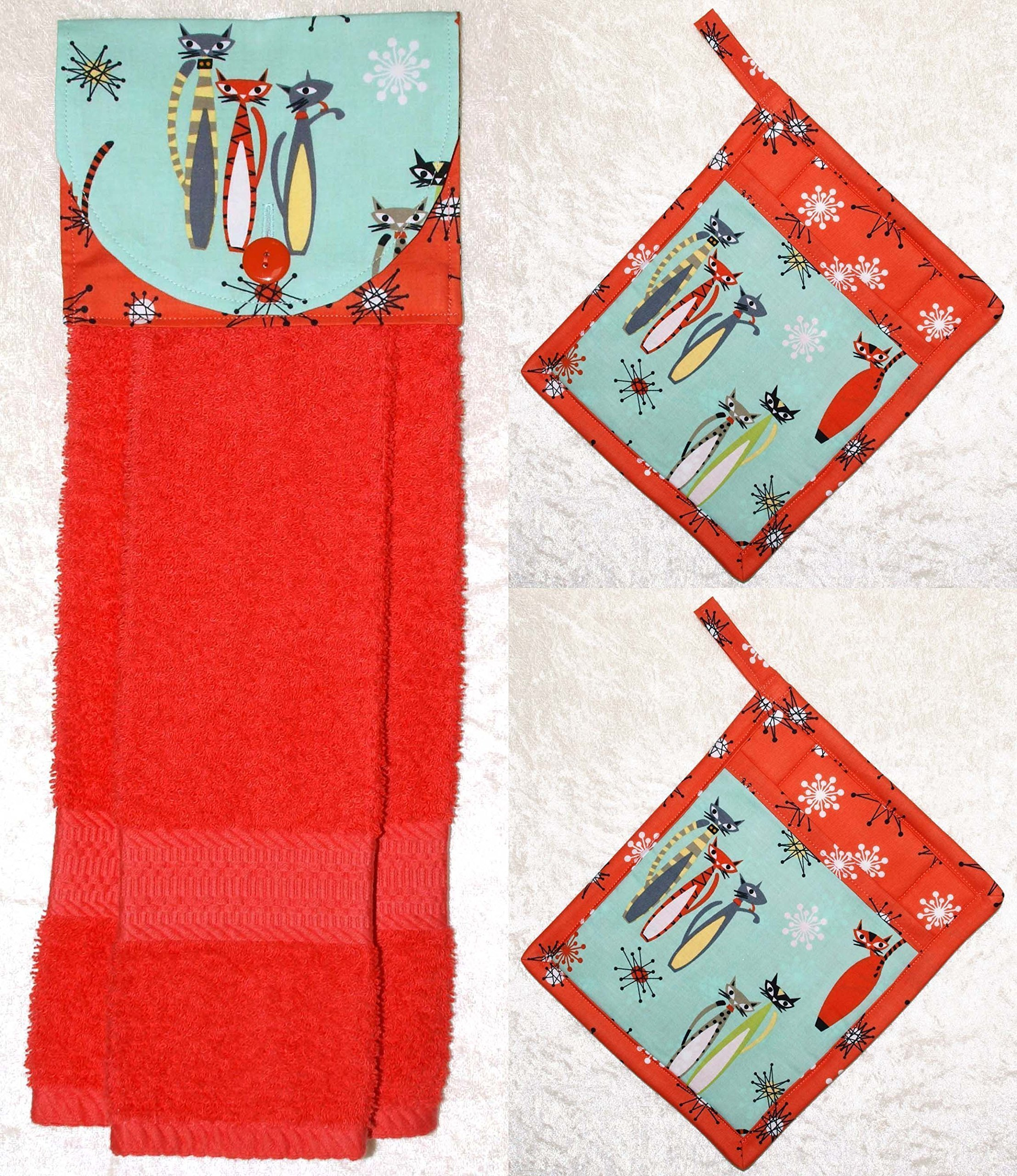 3 Piece Set - 1 Hanging Hand Towel - 2 Potholders - Retro Cats And Cosmic Starbursts On Aqua & Coral by Green Acorn Kitchen
