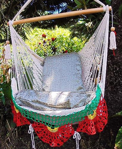 Beautiful Hammock Chair Beige, red and Yellow with Crochet Edge Indoor Outdoor Chair Hammock Hanging Chair Swing Hanging Chair Indoor Chair Nicaraguan Hammock