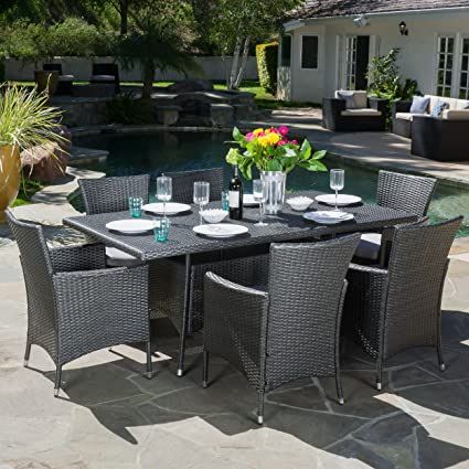 GDF Studio Macalla | 7 Piece Wicker Outdoor Dining Set | Perfect For Patio |