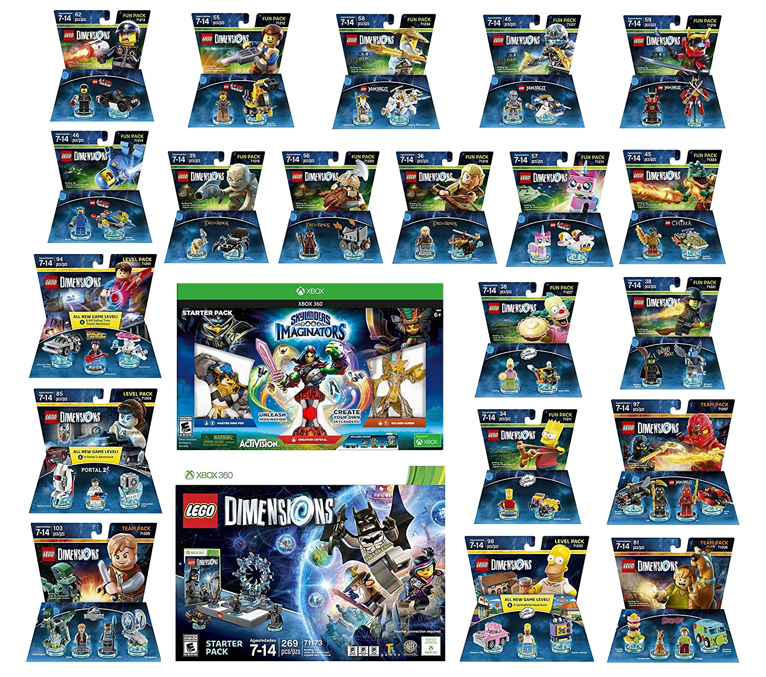 Amazon Com Skylanders Imaginators Starter Pack Lego Dimensions Starter Pack The Simpsons Homer Scooby Doo Portal 2 Jurassic World Back To The Future 14 Fun Packs Xbox 360 Console Video Games