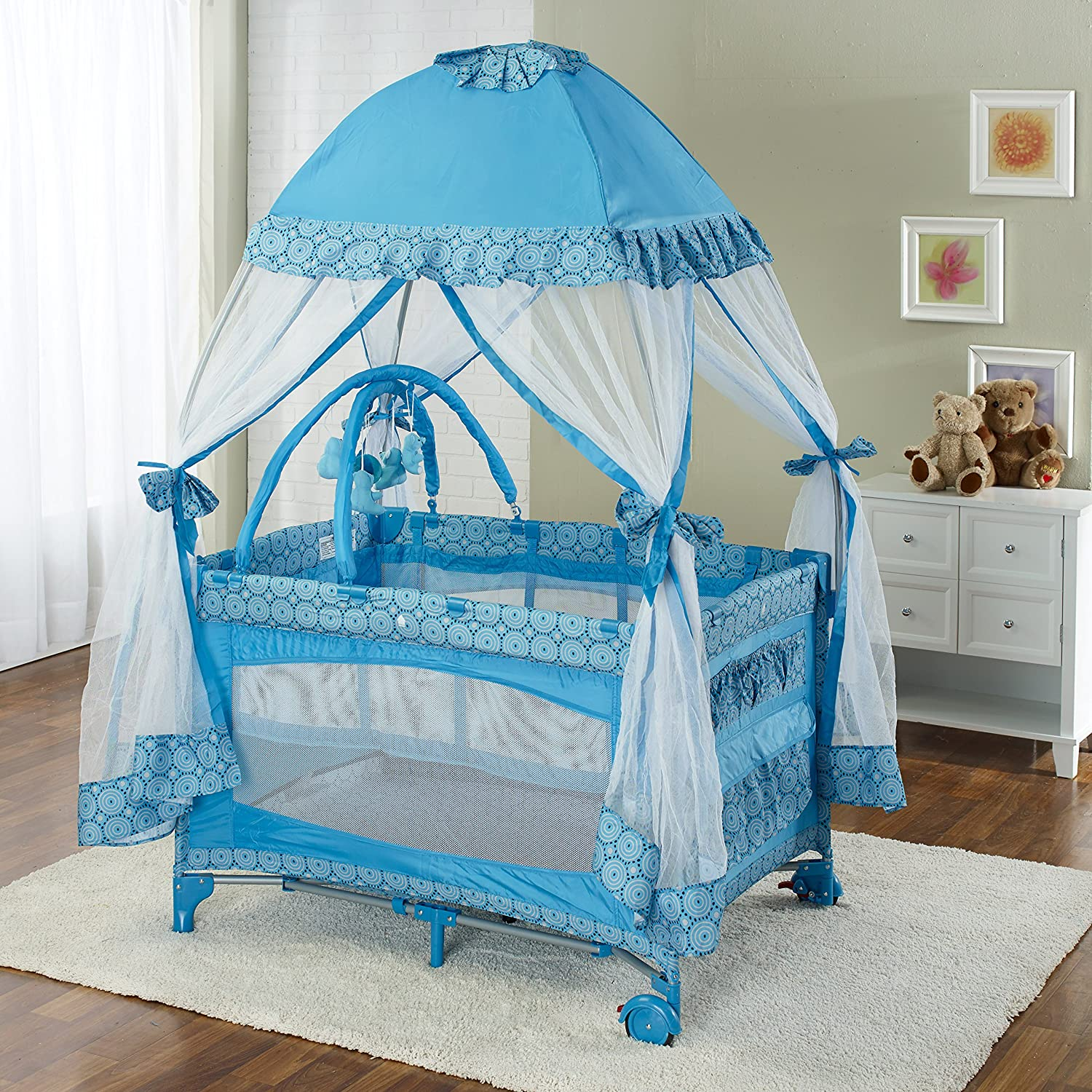 Big Oshi Portable Playard Deluxe Bundle – Nursery Center With Canopy Net Topper – Medium Size – Lightweight, Compact Design, Includes Carry Bag – Perfect for Indoor or Outdoor Backyard Use, Light Blue