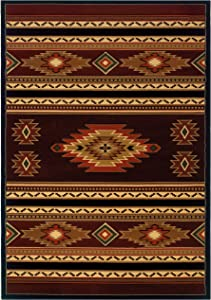 United Weavers of America Contours Cem Soaring Diamond Terracotta Rug - 1ft. 10in. x 2ft. 8in. Multicolor Olefin Rug with Jute Backing, Thick Pile