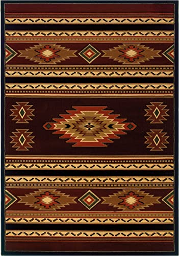 United Weavers of America Contours Cem Soaring Diamond Terracotta Rug – 5ft. 3in. x 7ft. 6in. Multicolor Olefin Rug with Jute Backing, Thick Pile