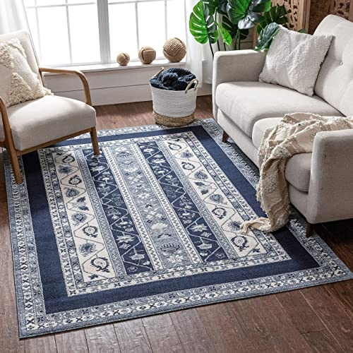 Well Woven Pila Dark Blue Floral Oriental Pattern Area Rug 5×7 5 3 x 7 3