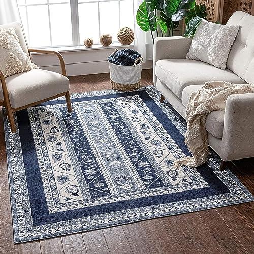 Well Woven Pila Dark Blue Floral Oriental Pattern Area Rug 8×11 7'10″ x 10'6″