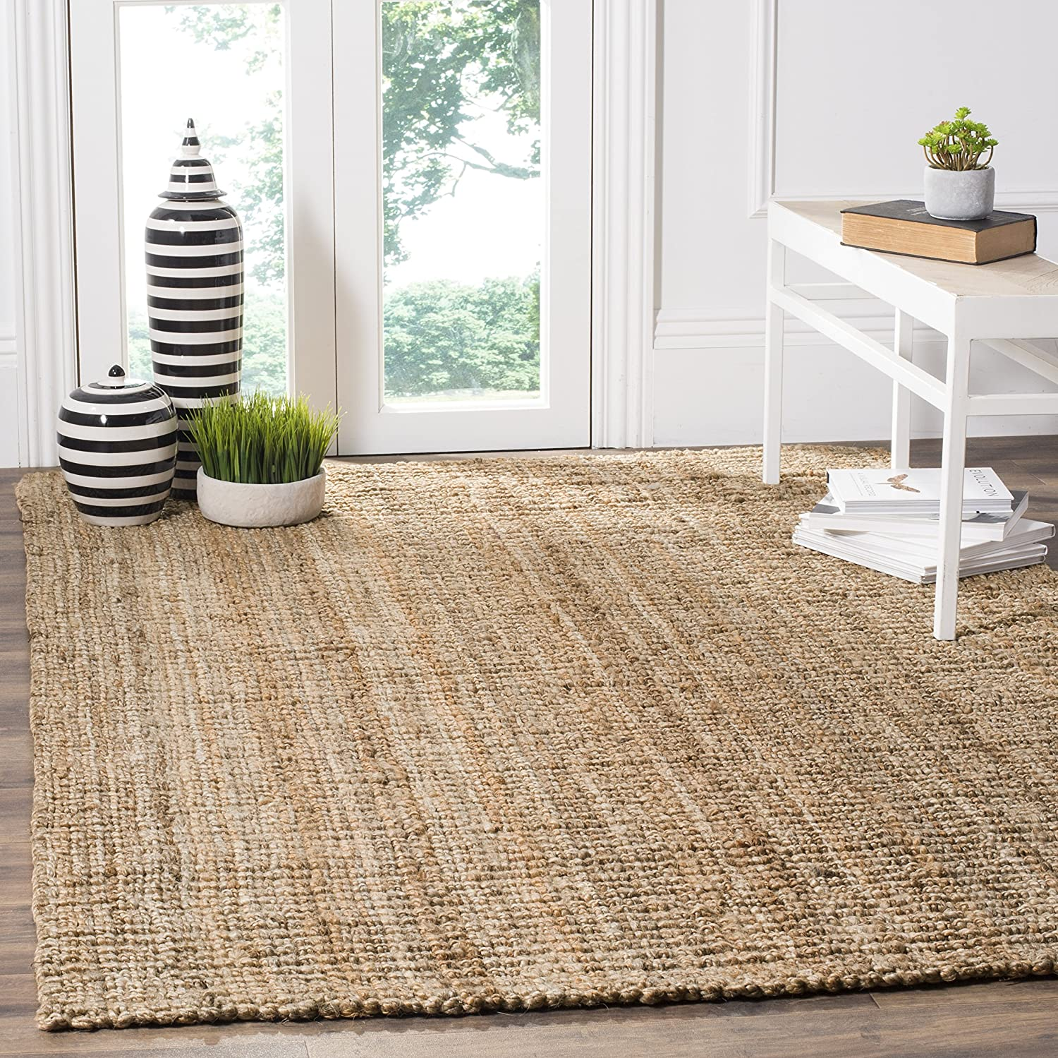 Amazon.com: Safavieh Natural Fiber Collection NF447A Hand Woven Natural  Jute Square Area Rug (4u0027 Square): Kitchen U0026 Dining
