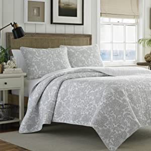 Tommy Bahama Island Memory Gray Quilt Set, King, Pelican Gray