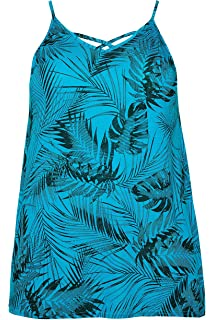 Yours Clothing Women/'s Plus Size Green Palm Print Top