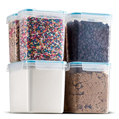 Komax Biokips Food Storage – Sugar, Flour, Baking Ingredients, and Pantry Storage Containers (set of 6) - Airtight, Leakproof With Locking Lids - BPA Free Plastic - Freezer and Dishwasher Safe