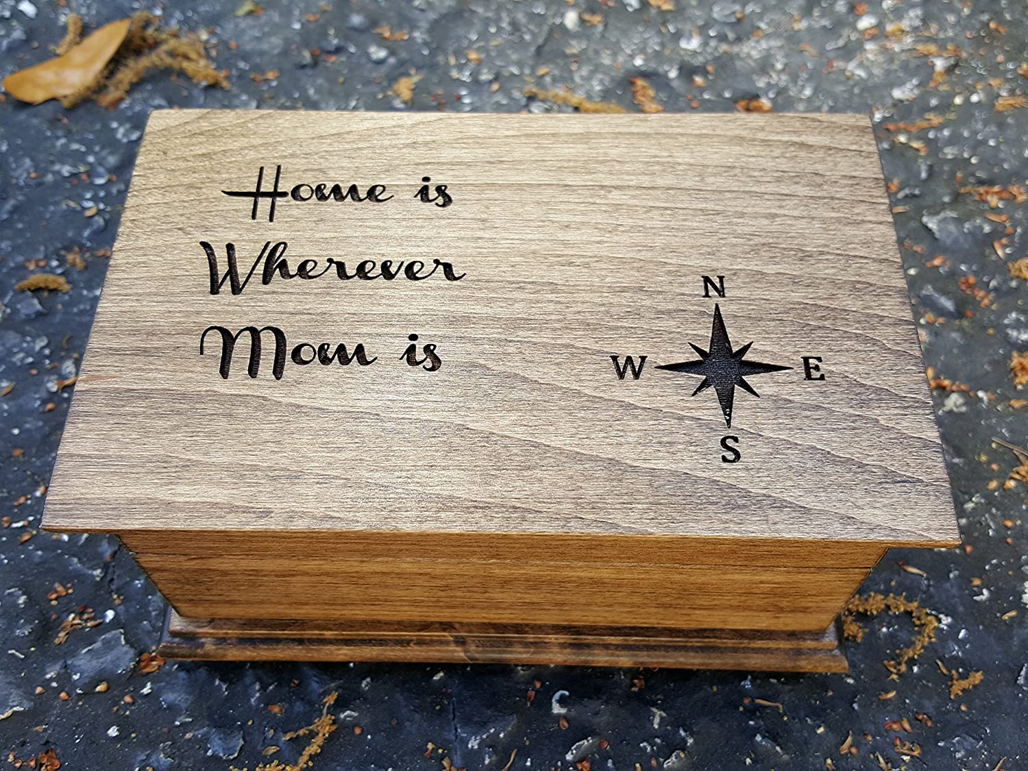 Custom engraved musical jewelry box with Home is Wherever Mom is engraved on top along with compass rose