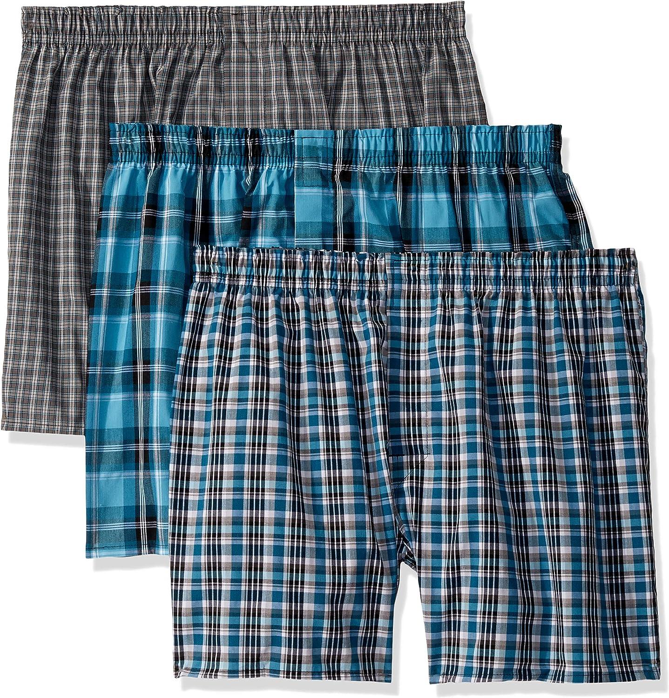 Select SZ//Color. Hanes Mens Underwear Ultimate 4-Pack FreshIQ Plaid Boxer W//
