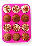 Silicone Muffin Pan - 12 Cups Pink Mold & Baking Tray- Reusable, Non-Stick Bakeware - Heat Resistant, Food Grade & BPA-Free Silicone, Non-Toxic- FREE E-BOOK with 50 RECIPES!