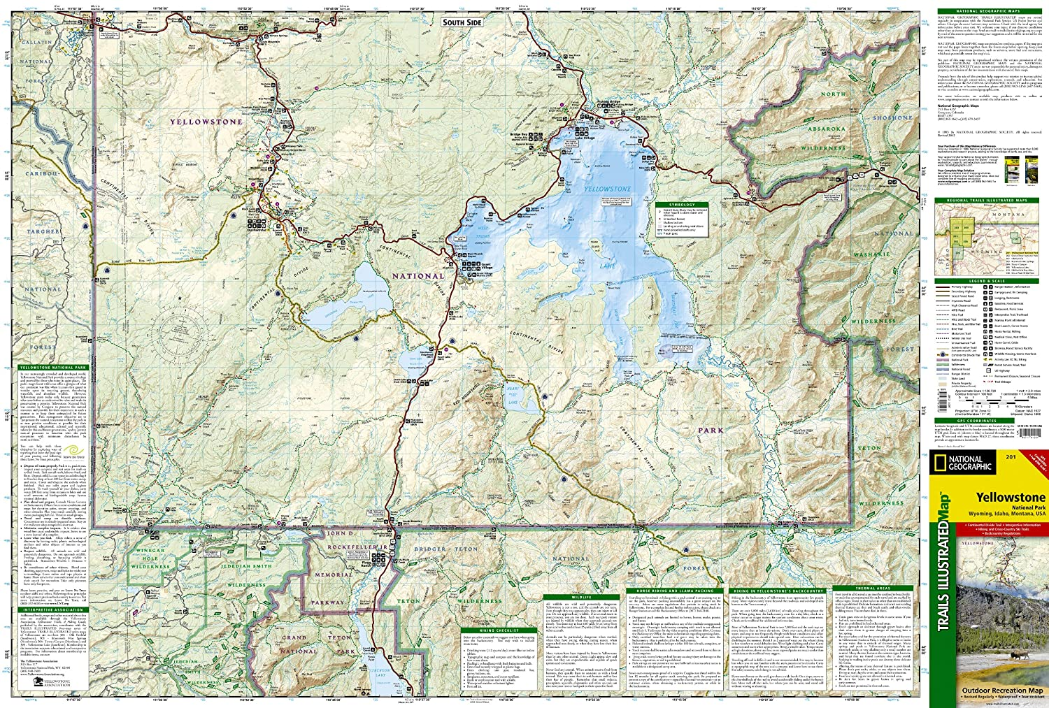 Amazoncom Yellowstone National Park National Geographic Trails - Us map showing national parks
