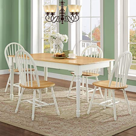 MegaDeal- Wooden Dining and Breakfast Table and Chair Set, Furniture White and Natural, 5 Piece