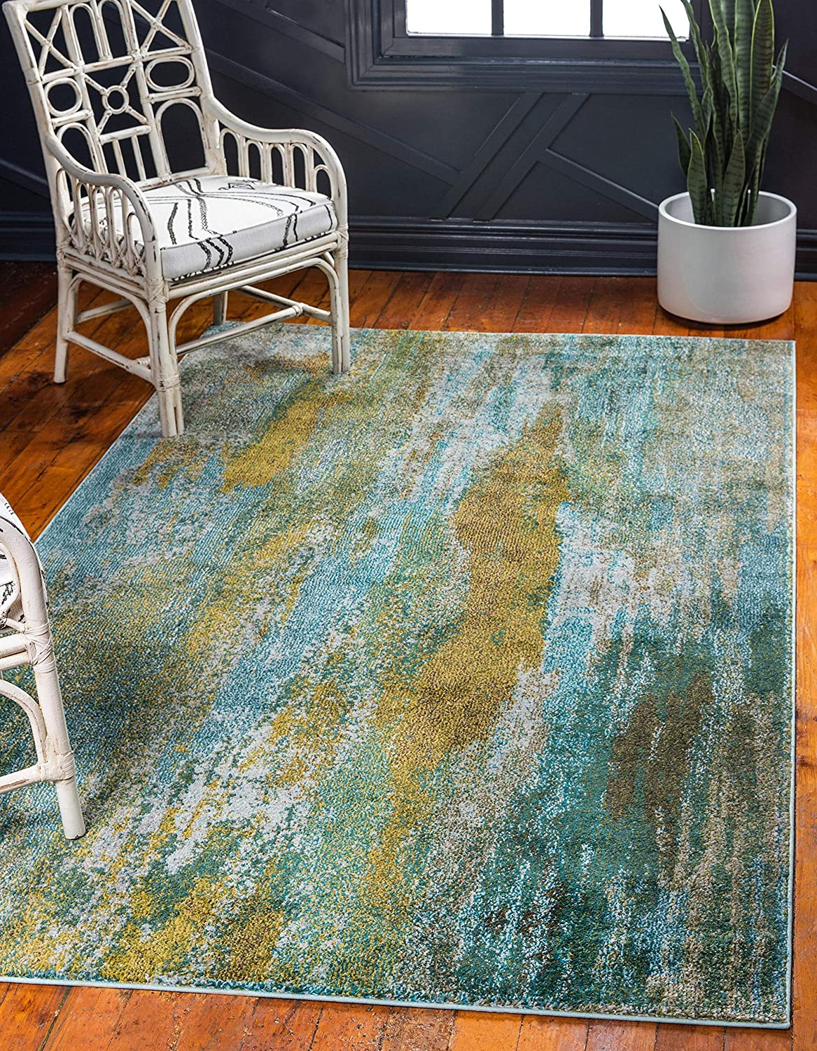 Unique Loom Jardin Collection Vibrant Abstract Turquoise Area Rug (10' 0 x 13' 0)