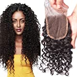 "Elva Hair Free Part Deep Curly Lace Closure Bleached Knots Brazilian 3.5""x4"" Virgin Human Hair Accessions 8"""
