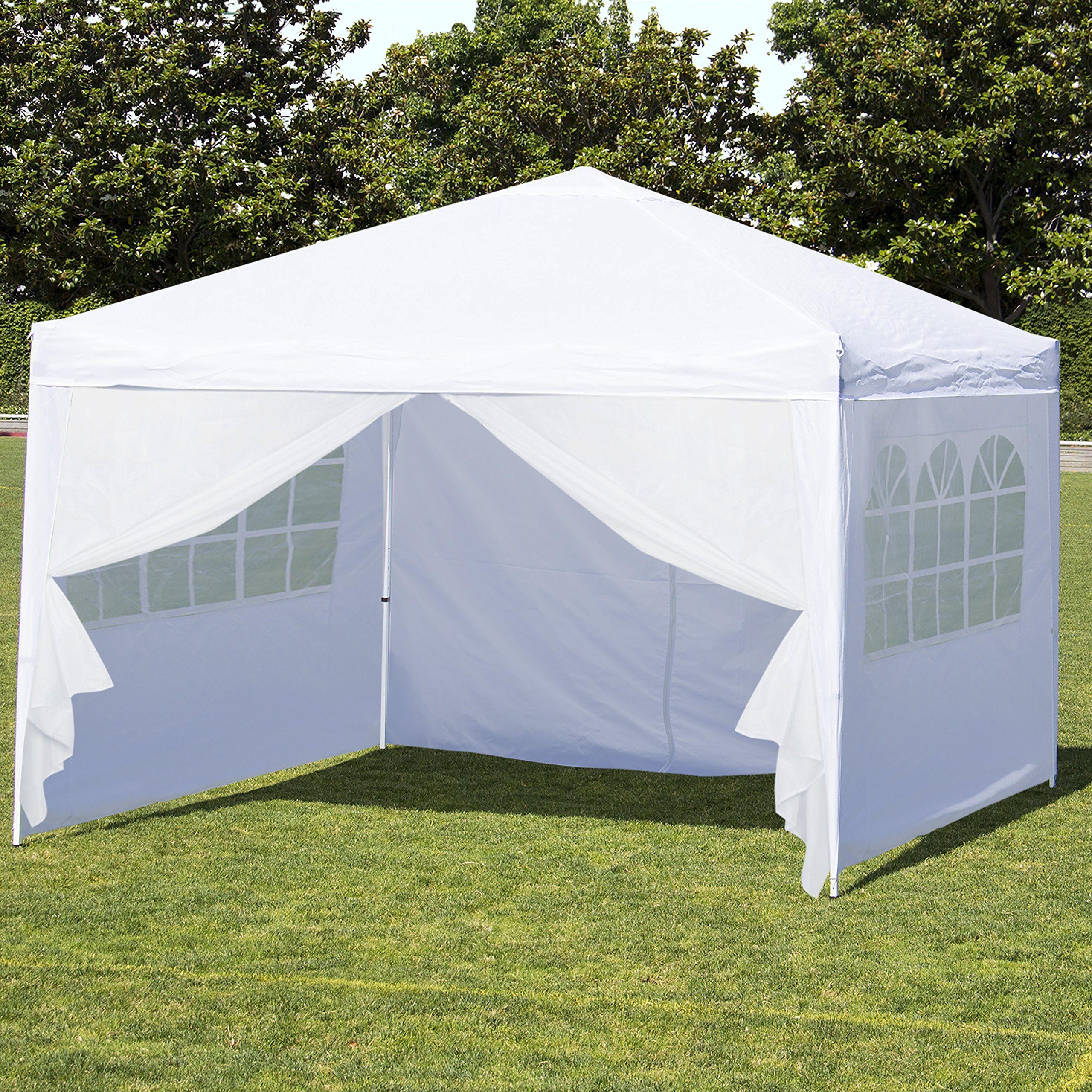 Best Choice Products 10x10ft Portable Lightweight Pop Up Canopy Tent w/Side Walls and Carrying Bag - White/Silver by Best Choice Products