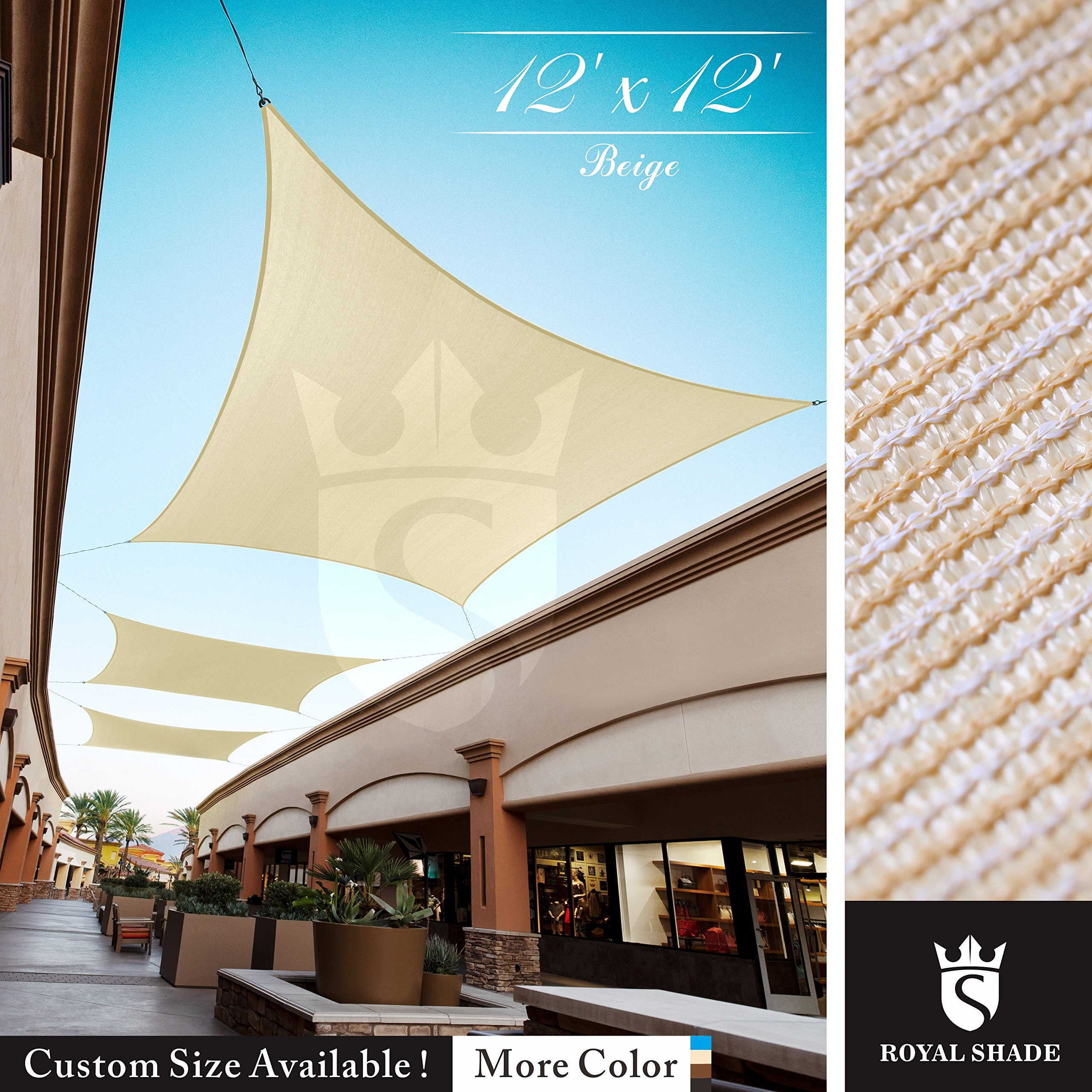 Royal Shade 12' x 12' Beige Square Sun Shade Sail Canopy Outdoor Patio Fabric Shelter Cloth Screen Awning - 95% UV Protection, 200 GSM, Heavy Duty, 5 Years Warranty, We Make Custom Size by Royal Shade