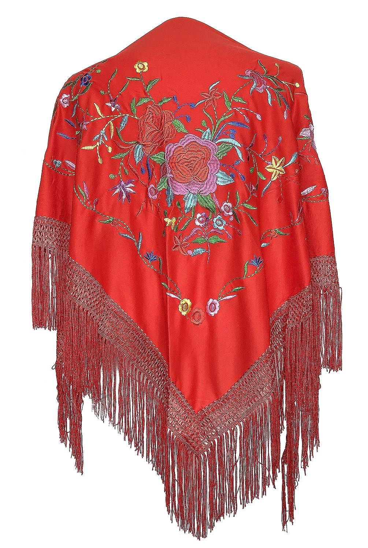 La Se/ñorita Foulard cintura chale manton de manila Flamenco di danza rosso con diversi fiori colorati