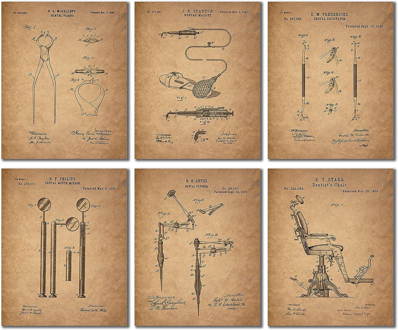 Dental Nurse Poster Wall Art Decor Dentist Set Of 3 Patent Prints Unframed