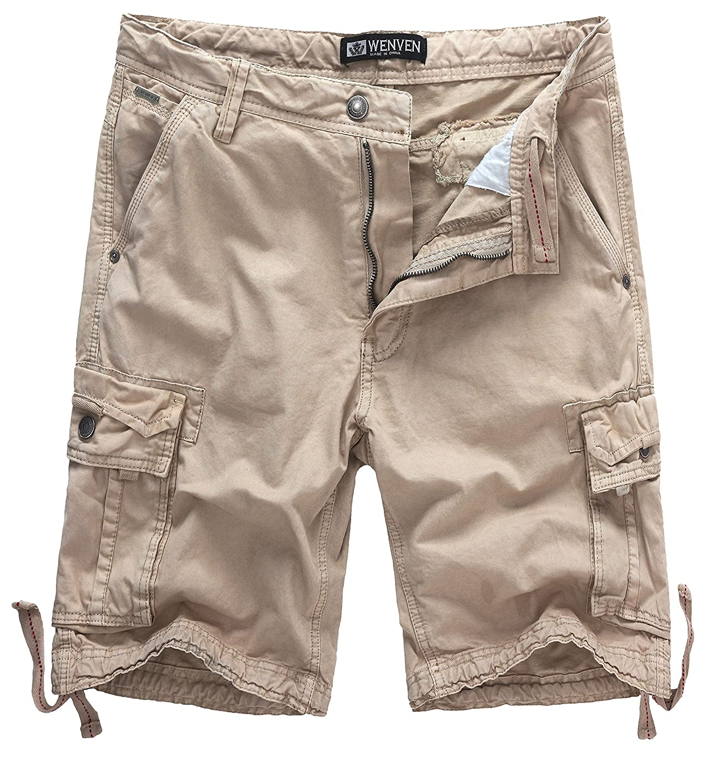 TALLA UK 32 (ES 40). WenVen Pantalones de Algodón Desgaste Ligero para Hombres