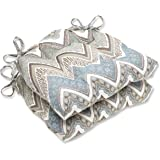 Pillow Perfect Cottage Reversible Chair Pad, Mineral, Set of 2