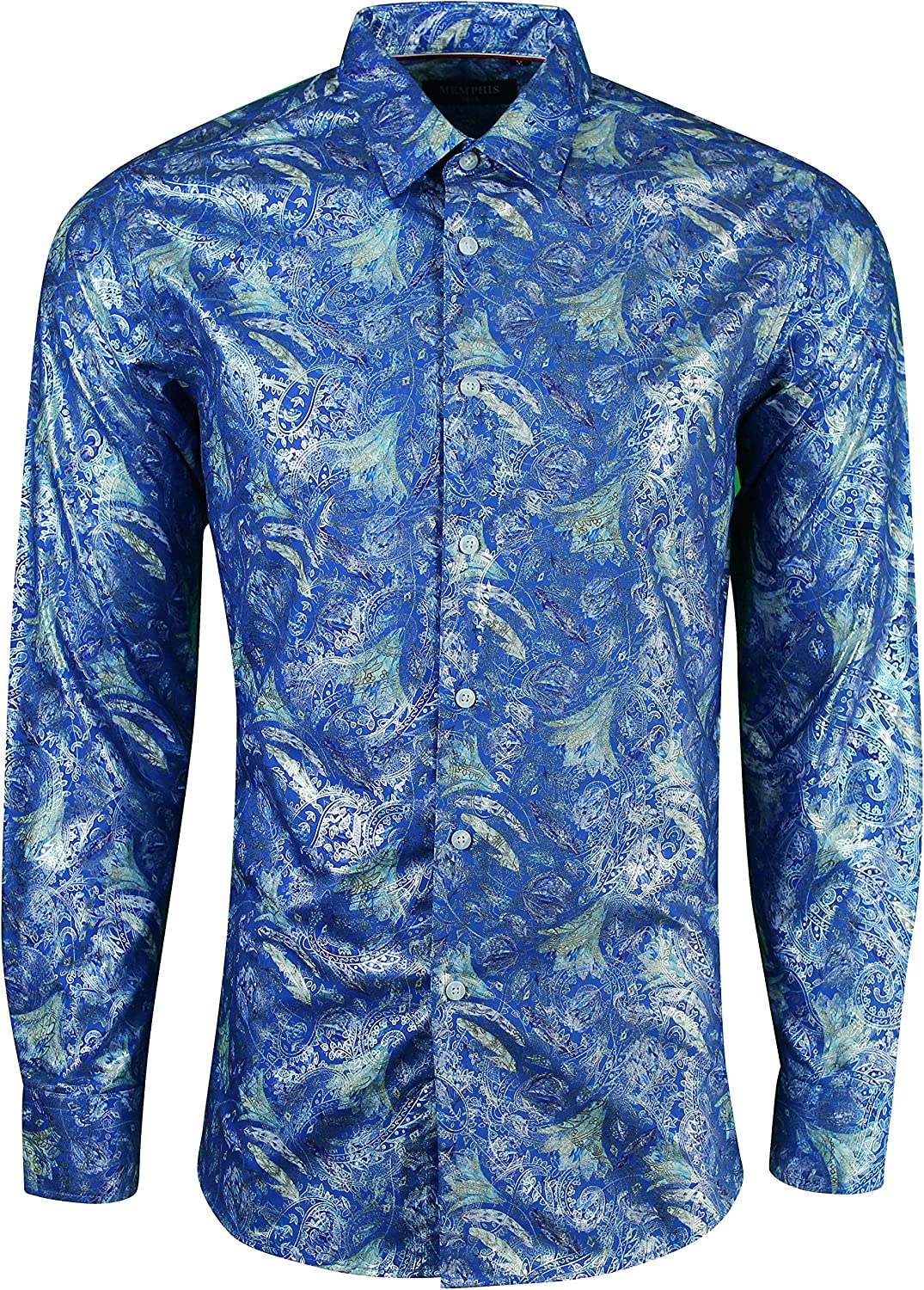Memphis Mens Floral Paisley Flower Leaf Shiny Casual Evening Party Shirt: Amazon.es: Ropa y accesorios