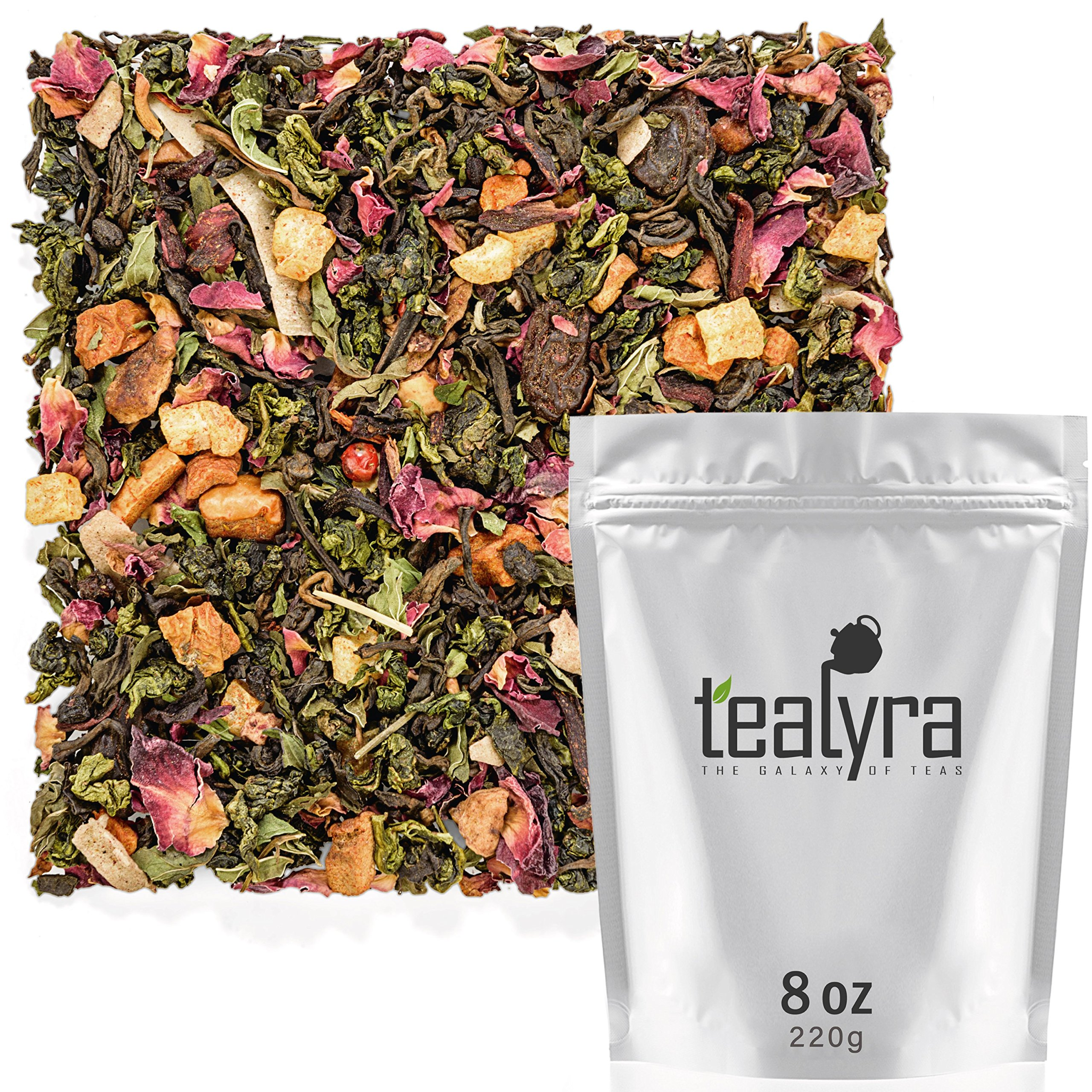 Tealyra - Berry Rose Slenderize - Pu Erh 5 Year Aged with Green Oolong - Loose Leaf Tea Blend - Diet - Weight Loss - Wellness Healthy Tea - All Natural Ingredients - 220g (8-ounce) by Tealyra