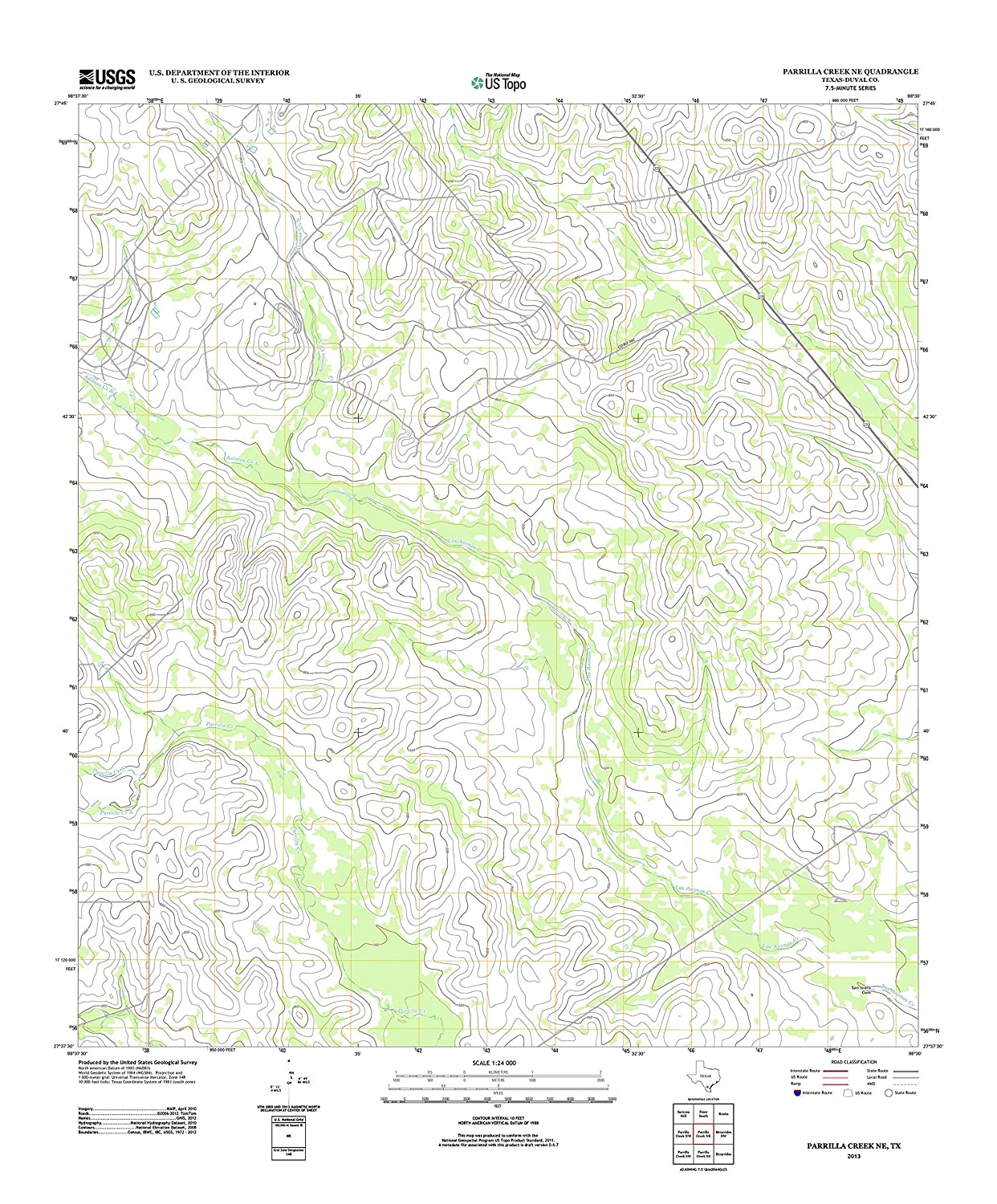 Amazon.com: Topographic Map Poster - PARRILLA CREEK NE, TX ...