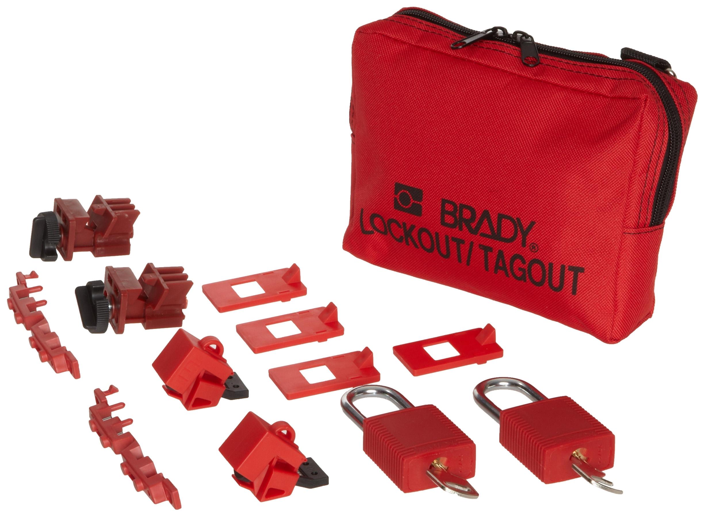 Brady 120/277V Breaker Lockout Pouch, Includes 2 Safety Padlocks and 2 Tags