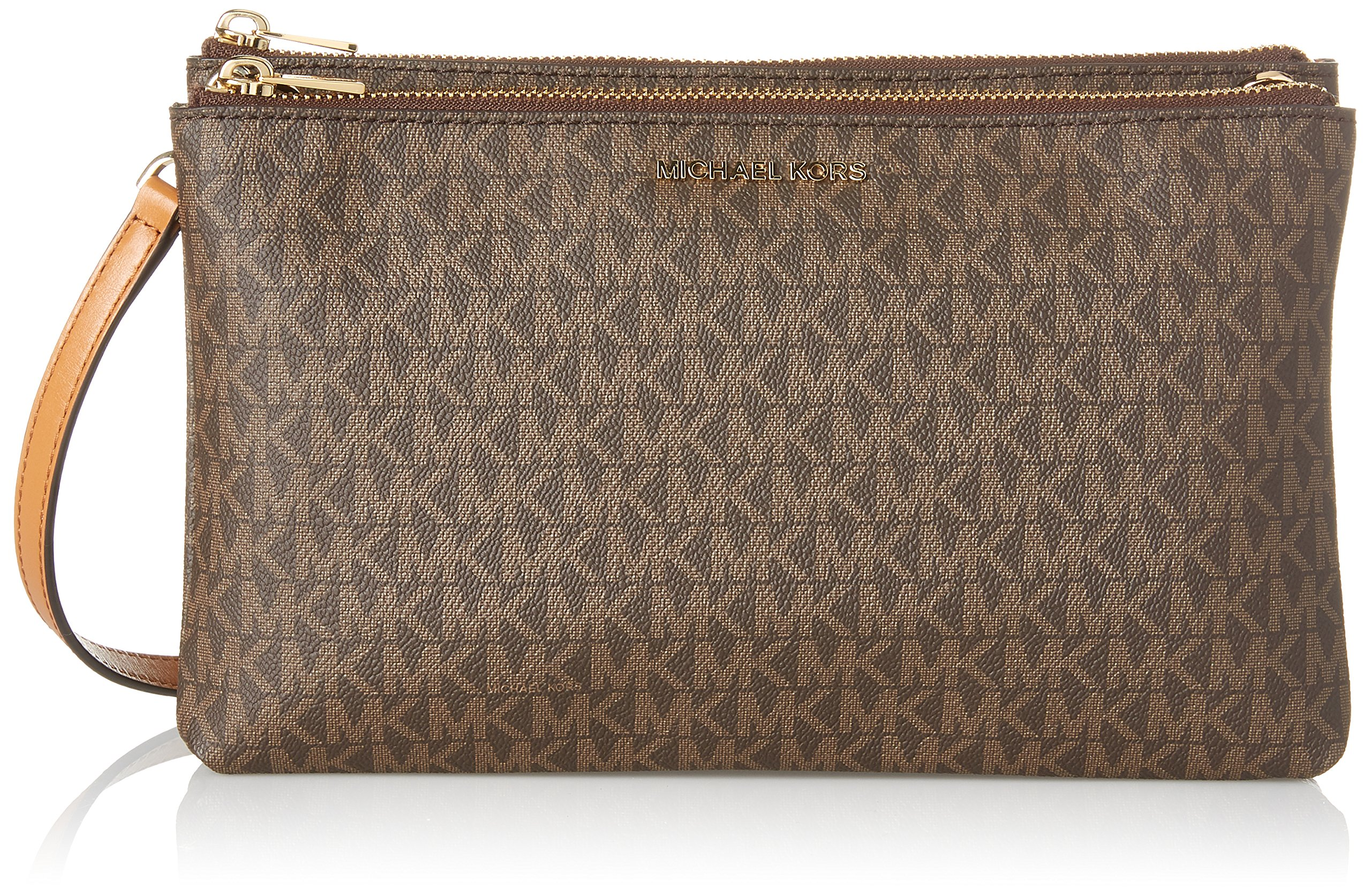 Michael Kors Adele Signature Double Gusset Crossbody, Brown