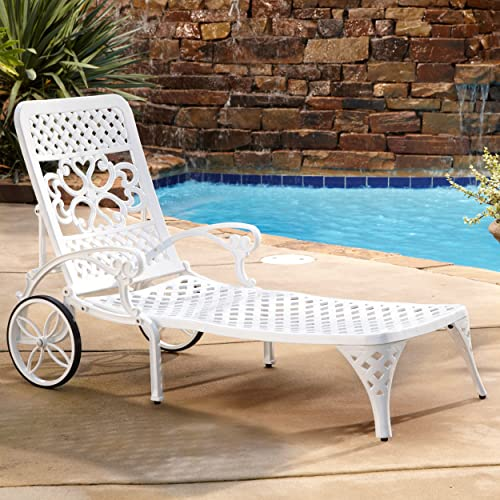 Home Styles Biscayne White Chaise Pair or Lounge Chairs with Two Wheels on Each Chair, Four-way Adjustable Back, and Cast Aluminum Construction
