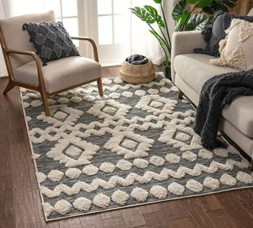 Well Woven Cenar Grey Flat-Weave Hi-Low Pile Diamond Medallion Stripes Moroccan Tribal Area Rug 8×10 7'10″ x 9'10″