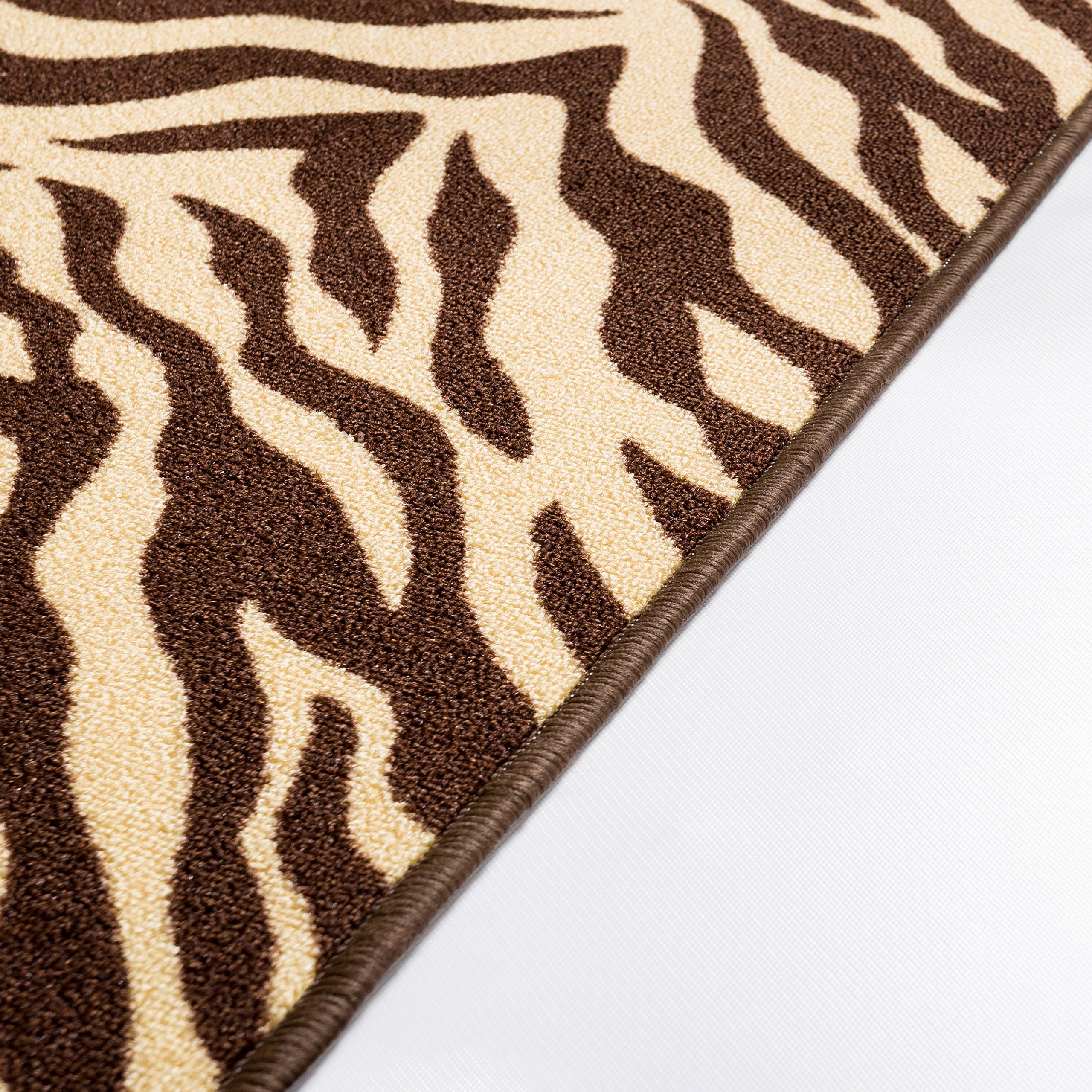 Well Woven 2501-2S Kings Court Zebra Modern Brown Animal Print 1'8'' x 5' Accent Indoor/Outdoor Runner Rug by Well Woven (Image #5)