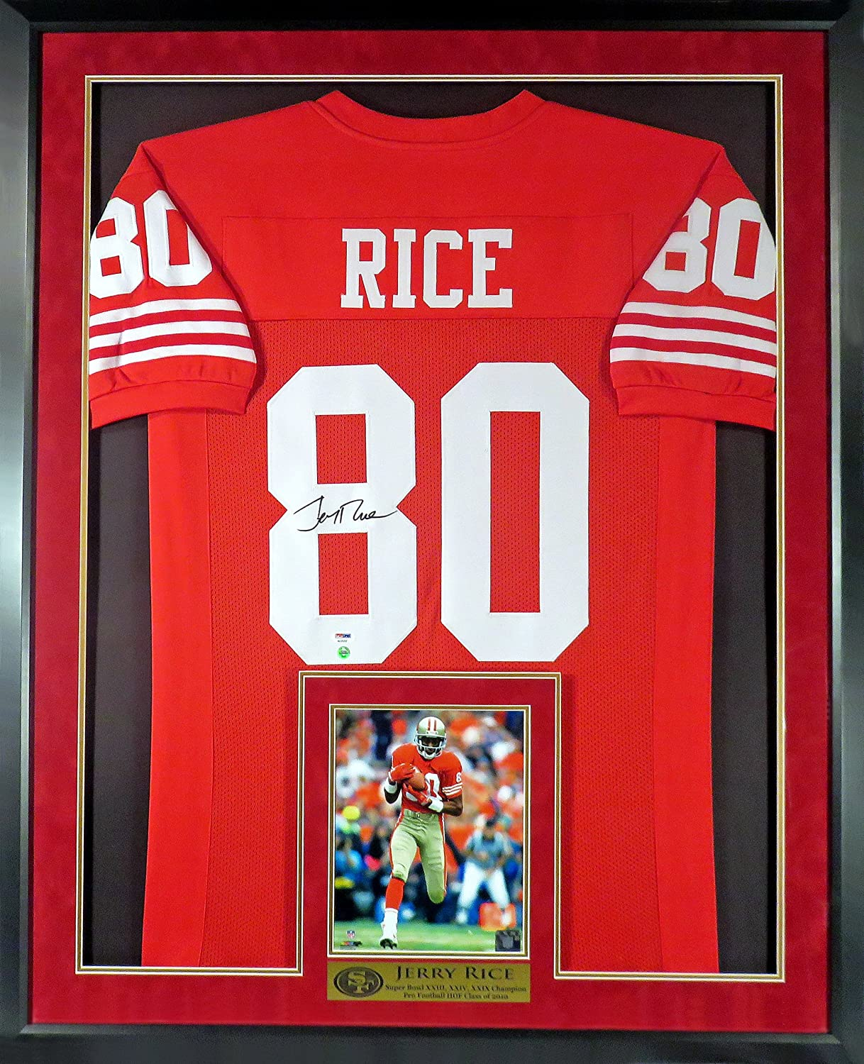 size 40 8b13d 83602 Jerry Rice Autographed SF 49ers Jersey (w/ Inset Photo ...