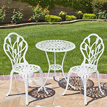 Best ChoiceProducts Outdoor Patio Furniture Tulip Design Cast Aluminum  Bistro Set In White Part 41