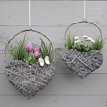 2er Set Herz Blumentopf - Grau oder Weiß - Hängetopf, Blumenampel ...