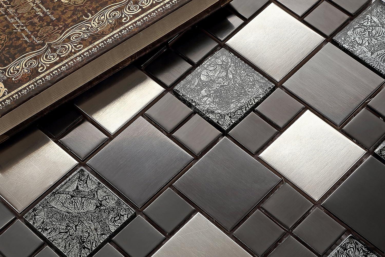 Mattonelle a mosaico in acciaio inox e vetro, in nero e argento ...