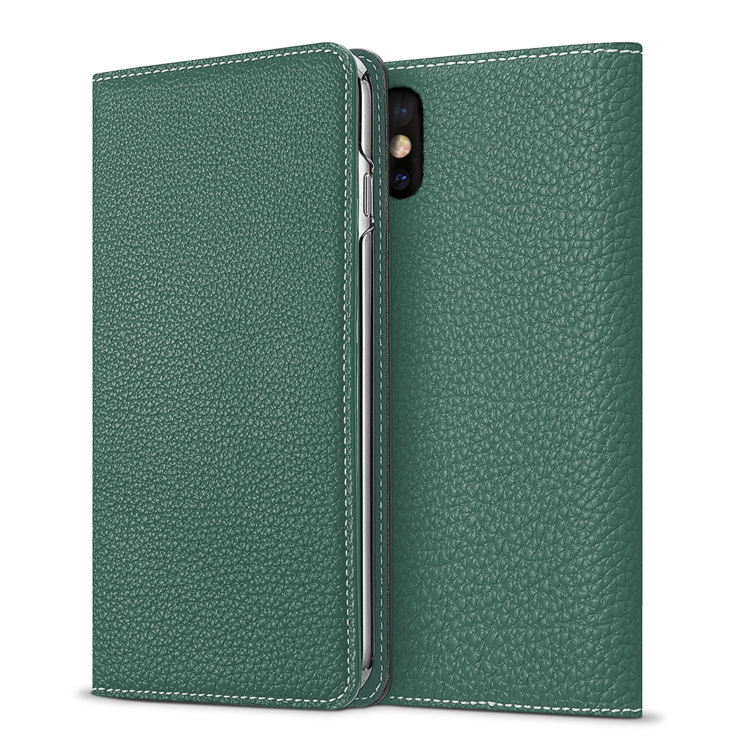 [BLACK FRIDAY 25%OFF] BONAVENTURA iPhone X Leather Flip Wallet Cover Case (Perlinger Full-Grain Leather) [iPhone X | MALACHITE GREEN]