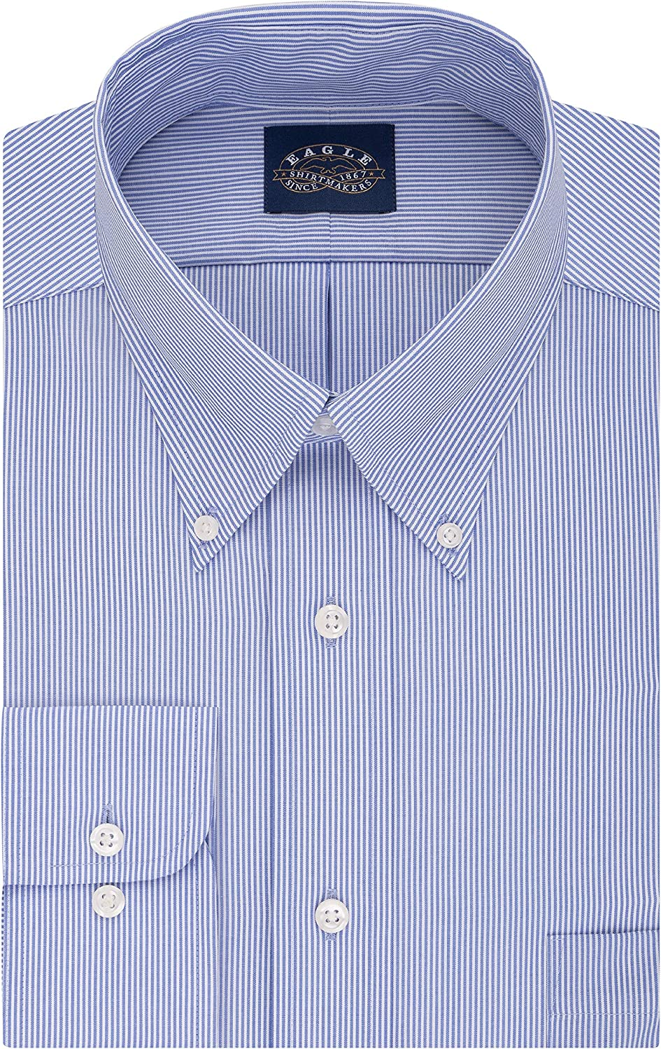 Eagle Mens Tall Fit Dress Shirts Non Iron Stretch Collar Stripe Dress Shirt Big and Tall
