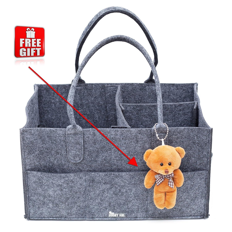 Baby Diaper Caddy Organizer Tote, Customizable Nursery & Car Storage Bin, Grey Nangong Huizhong Felt Co .Ltd