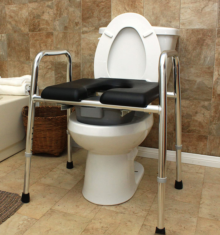 Amazon.com: Padded Raised Toilet Seat/Safety Frame/Commode (74654 ...