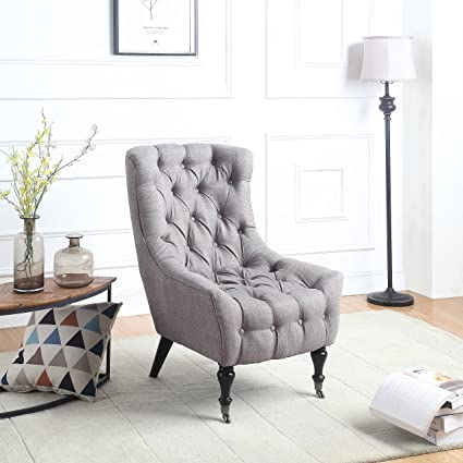 Classic Tufted Linen Fabric Shelter Wing Living Room Chair, Accent Armchair  with Casters (Grey)