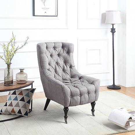 Amazon.com: Sillón clásico de tela de lino, con ruedas, para ...