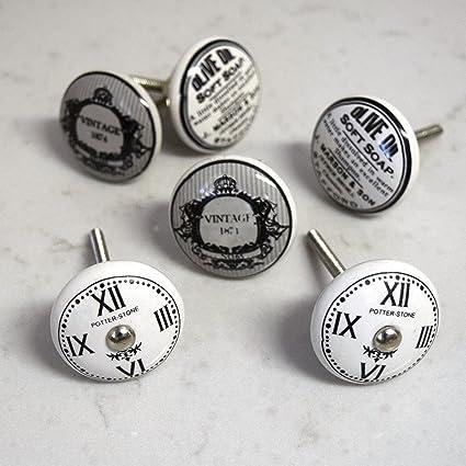 Juego de 6 gris blanco y negro relojes vintage shabby chic para puerta tiradores de pomos