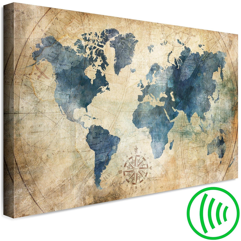 decomonkey Akustikbild Weltkarte 120x80 cm 1 Teilig Bilder Leinwandbilder Wandbilder XXL Schallschlucker Schallschutz Akustikdämmung Wandbild Deko leise Kontinent Landkarte Vintage