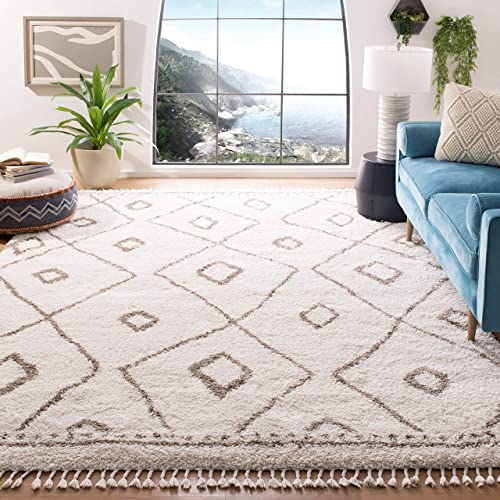 Safavieh Moroccan Fringe Shag Collection MFG333B Area Rug, 8 x 10 , Ivory Beige