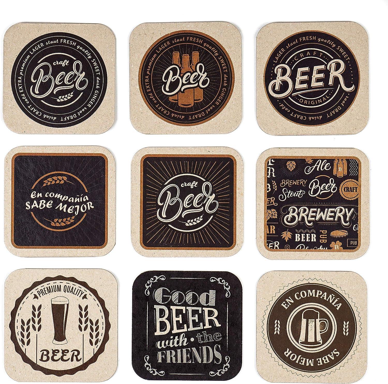 Trashy World Posavasos Originales cartón Kraft 600 g/m², diseño Retro, Vintage, Profesionales para hostelería, Cerveza - 18 uds
