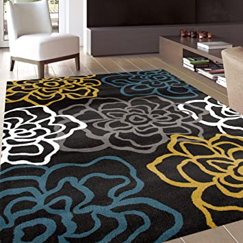 Rugshop Contemporary Modern Floral Flowers Area Rug 5 3quot X 7
